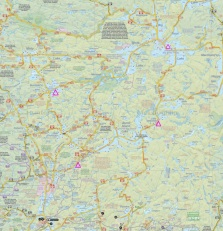 Our campsites marked in purple triangles. Map from Jeffsmap.com