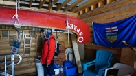 "One of 5 bicentennial canoes, this one named ""Osprey"" undergoing restoration."
