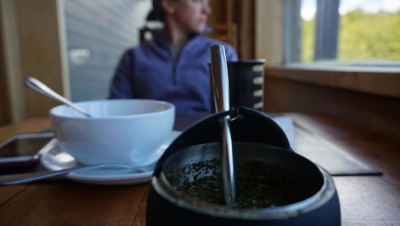 Drinking some mate, before a day of hiking